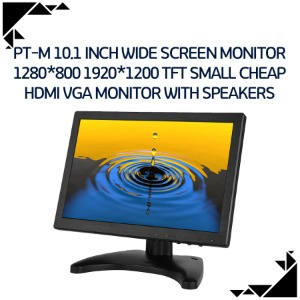 PT-M 10.1 inch wide screen monitor 1280*800 1920*1200 tft small cheap hdmi vga monitor with speakers