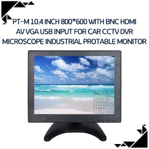 PT-M 10.4 inch 800*600 with BNC HDMI AV VGA USB input for Car CCTV DVR Microscope industrial protable monitor
