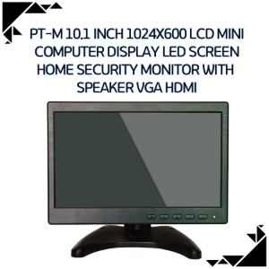 PT-M 10.1 Inch 1024X600 LCD Mini Computer Display LED Screen Home Security Monitor with  Speaker VGA HDMI