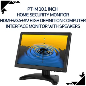 PT-M 10.1 Inch  Home Security Monitor HDMI+VGA+AV High Definition Computer Interface Monitor With Speakers