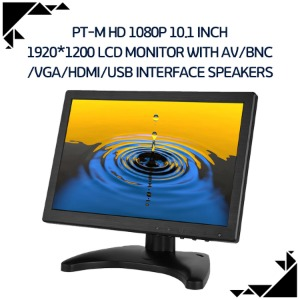 PT-M HD 1080p 10.1 inch 1920*1200 lcd monitor with AV/BNC /VGA/HDMI/USB interface speakers