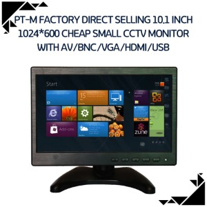 PT-M Factory direct selling 10.1 inch 1024*600 cheap small cctv monitor with AV/BNC/VGA/HDMI/USB